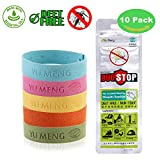 Natural Mosquito Repellent Bracelets Wristbands with Adjustable Button 100% Essential Oil Individually-Wrapped Bands 10 Pack