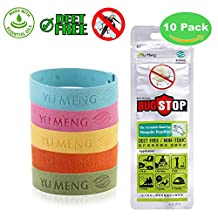Natural Mosquito Repellent Bracelets Wristbands 10 Pack with Adjustable Button 100% Essential Oil Individually-Wrapped Bands