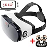 "VR Headset - Virtual Reality Goggles by VR WEAR 3D VR Glasses for iPhone 6/7/8/Plus/X & S6/S7/S8/S9/Plus/Note and Other Android Smartphones with 4.5-6.5"" Screens + 2 Stickers"