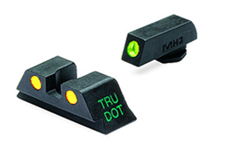 Meprolight Glock Tru-Dot Night Sight for 9mm, .357 Sig, .45 S&W . 45 GAP. Fixed Set. Yellow Rear Sight with Green Front Sight