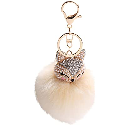 Amazon.com  Girls Artificial Fox Fur Pom Pom Ball Key Chains with ... a26556fe09