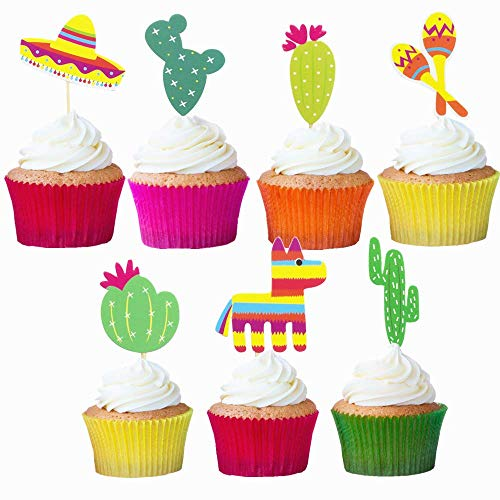 (Mexican Fiesta Cupcake Topper Cactus Donkey Sombrero Pattern Party Cake Picks 28PCS)