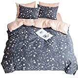 HIGHBUY Lightweight Printed Bedding Duvet Cover Set Full Peach Pink Dark Grey Premium Cotton 3-Pieces Reversible Comforter Quilt Covers Children Soft Cotton Kids Bedding Set Queen,Style03