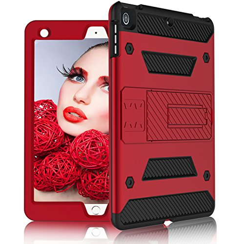 DONWELL iPad Air 2 Case 9.7 inch Shockproof Defender Protective Tablet Armor Cover with Kickstand Designed for Pro 9.7 / iPad Air/iPad 5 6 Generation (Type3- Red)