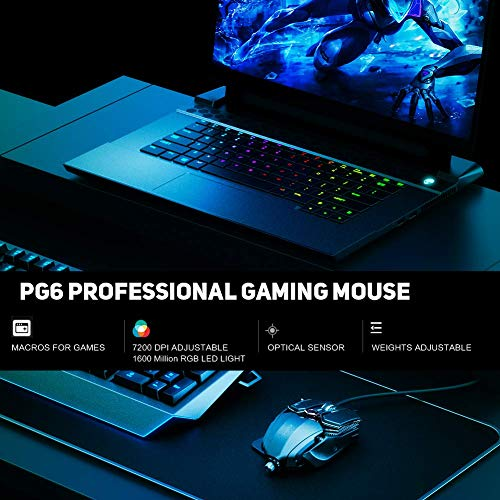 INPHIC RGB Gaming Mouse 7200 dpi PC USB con Cable Ratones MMO Computer Pro Gamer Mouse con 12 Botones programables, 10 Modos RGB, Pesas Ajustables, dpi de 6 palancas y LED Visible, Negro