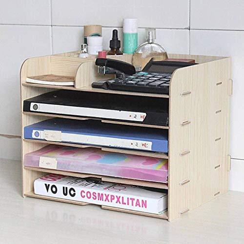 Purpose Multi Desktop Wood Organizer (Desktop Storage Organizer Office Desk Organizer,Office Supplies Multifunction Wooden ocument Letter Tray Organizer Stationery Storage Office-White)