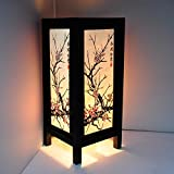 Amazon asian table lamps lamps shades tools home cherry blossom white black pink painting 11 wood bedside or table lamp japanese oriental collectible aloadofball Choice Image