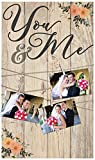 You & Me Floral 14 x 24 Inch Solid Pine Wood Clothesline Clipboard Photo and Momento Display