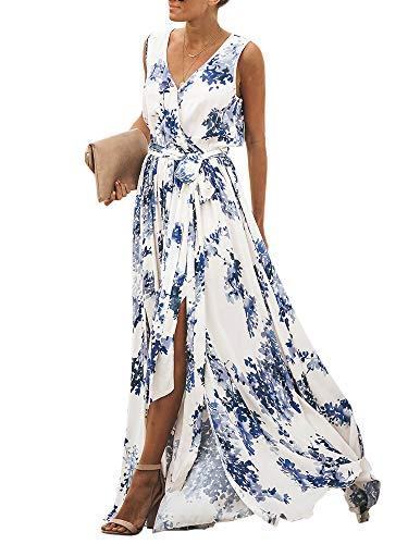 - Women's Wrap V Neck Floral Split Beach Boho Maxi Tank Chiffon Dress with Belt