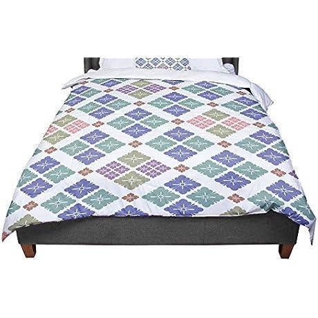 KESS InHouse Setsu Egawa Happy Lozenge Blue Green Queen Comforter 88 X 88
