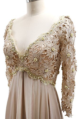 Women Minze the MACloth Midi Dress Gown Neck Formal V Sleeve Lace Mother Long of Bride B6xFxqwdP