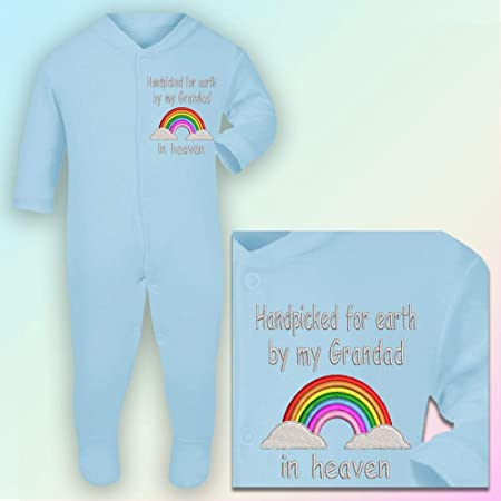 Handpicked Grandad In Heaven Embroidered Baby Romper Babygrow Gift Rainbow
