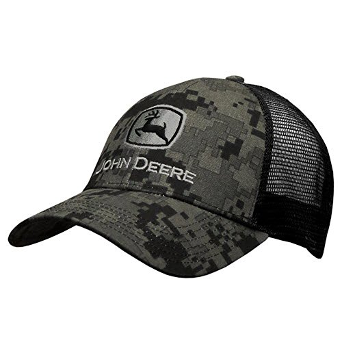 John Deere Men's Digital Camo and Mesh Cap Embroidered, Black, One Size