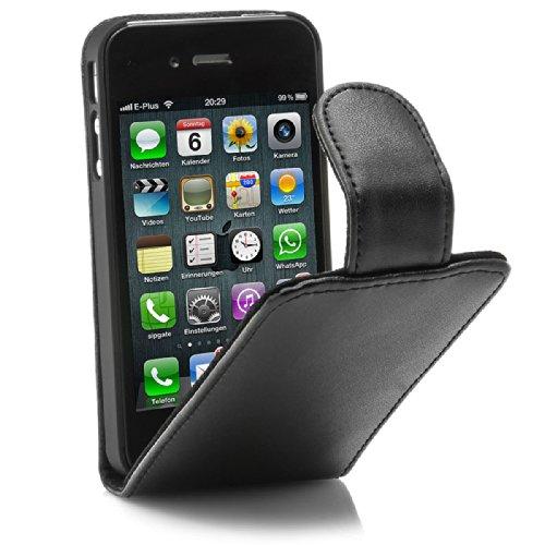 XAiOX iPhone 4/4s Kunsteder Tasche - schwarz