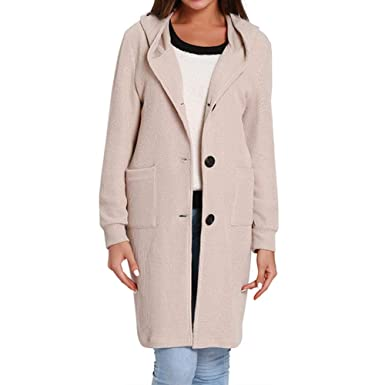 a2a0bbfa19 iShine Women s Long Sleeve Knitted Hooded Trench Coat