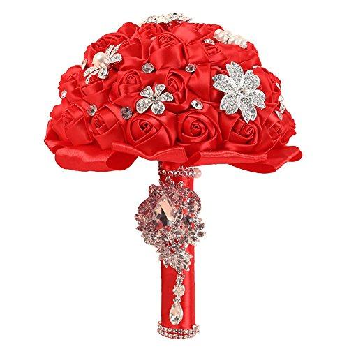 AerWo Handmade Diamond Pearl Rhinestone Brooch Bridal Wedding Bouquet Silk Flowers Red - You Deserve The Best