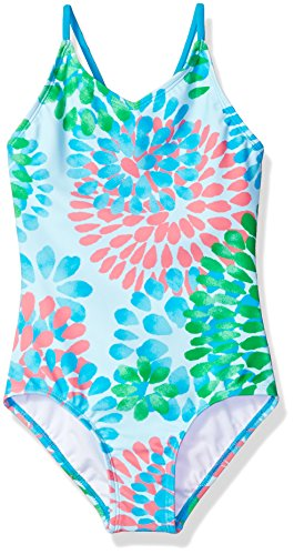 (Kanu Surf Little Girls' Daisy Beach Sport 1-Piece Swimsuit, Blue, 6X )