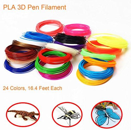 PLA 3D Pen Filament Refill 3D Printer Filament 1.75mm PLA Refill 3D Pen Supplies Consumable 24 colors 16.4/20 feet each (24colors 16.4feet)