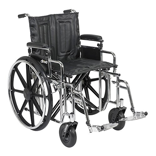 "Drive Medical Sentra Extra Heavy Duty Wheelchair, Detachable Desk Arms, Elevating Leg Rests, 22"" Seat, Model - STD22DDA-ELR"