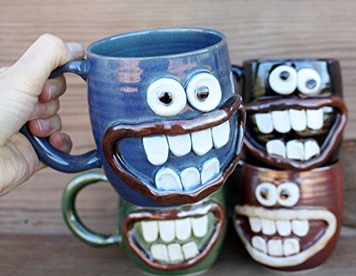 Handmade Pottery Coffee Cup. Smiley Face Ug-Chug Mug. 12 – 16 Ounces. Blue, Green, Chocolate Black or Red Brown. Hot Cold Beverage. Microwave and Dish…