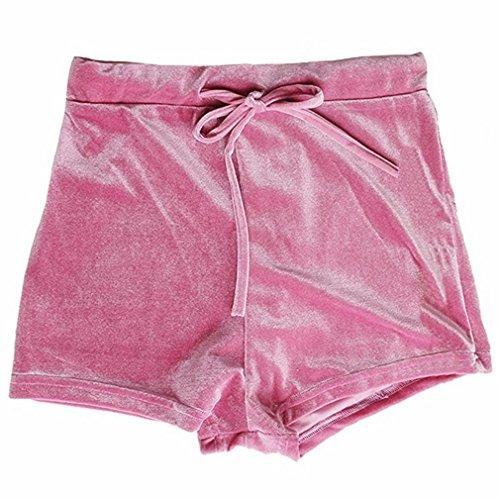 Gofypel Women Gym Shorts Velvet High Waist Sports Shorts Club Shorts Pants (pink)
