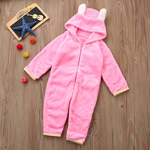 Omiky® Nettes Säuglingskind-Baby- oder Mädchen-Tierform-Spielanzug-Overall-Ausstattungs-Kleidung Rosa