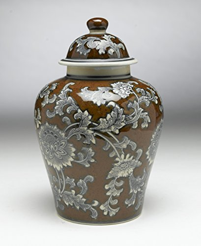 AA Importing 59729 Brown and Gray Floral 10 Inch Ginger Jar