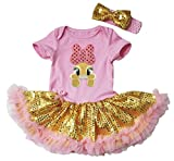 Easter Baby Dress Yellow Bunny Pink Bodysuit Gold Sequin Tutu NB-18m (6-12 Months)