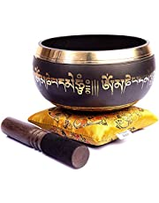 Tibetan Singing Bowl Set - Very Easy To Play Authentic Handcrafted For Meditation Sound Chakra Healing By Himalayan Bazaar