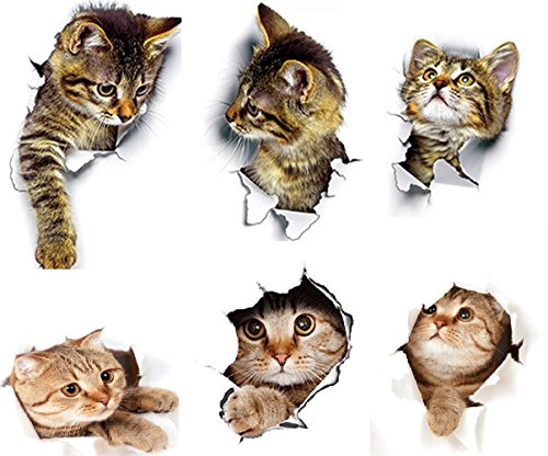 Beaubo 3D Vivid Decors Peel & Stick Wall Arts Decals Stickers Murals Home Decor Wonderful Home Decoration (Cat)