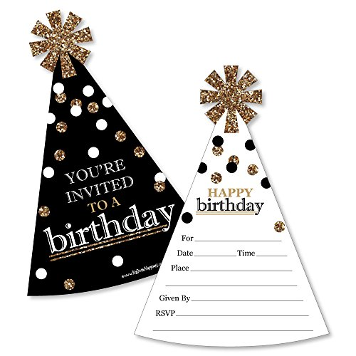Adult Happy Birthday - Gold - Shaped Fill-in Invitations - Birthday Party Invitation Cards with Envelopes - Set of 12]()
