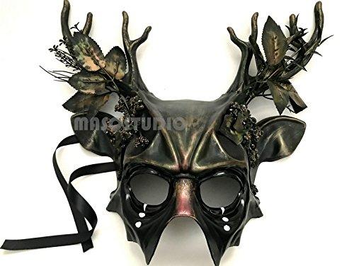 MASQSTUDIO Woodland Forest Antler Gobin Fairy Medusa Demon Halloween Devil Masquerade Ball Mask with Horns BRAND NEW -