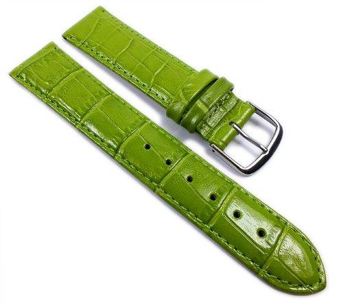 Louisiana Print XL Ersatzband Uhrenarmband Leder Grün 21908S, Anstoß:14 mm