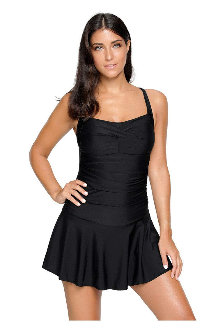 Color : Black, Size : L Swimsuit Swimsuits for Women Ruffled Low Cut Low Waist One-Piece