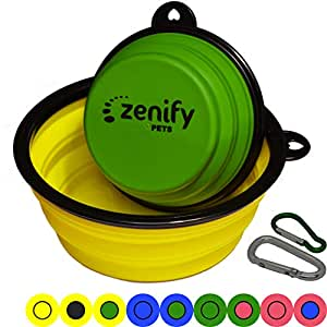 Zenify Dog Bowl Food & Water Feeder 2 Pack - Extra Large 1000ml 17.8cm & Small 400ml 12.7cm Collapsible Portable Foldable Travel Dish Leash Lead Slim Accessories for Puppy Dogs (Yellow XL/Green S)