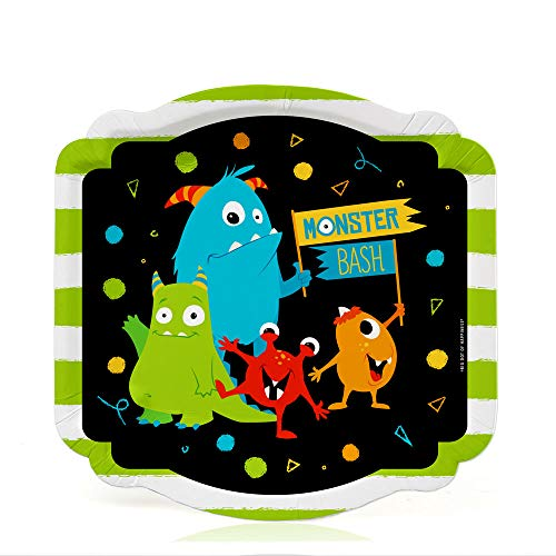 Big Dot of Happiness Monster Bash - Little Monster Birthday Party or Baby Shower Dessert Plates (16 Count)]()