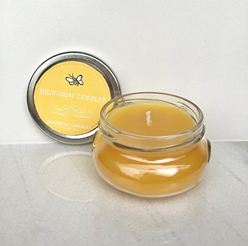 Pure Beeswax Candle Small Glass Jar - Unscented, Handmade, 6oz (Jar Unscented)