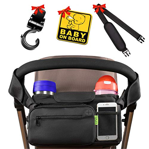 Jogging Stroller Parent Console - [NEWEST 2018] BEST STROLLER ORGANIZER Stroller Accessories + BONUS Stroller Hook, Shoulder Strap & Baby on Board Sticker | Insulated Cup Holders - Perfect for Jogging, Travelling or Shopping by Kaywee