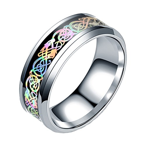 LILILEO Jewelry 8mm Stainless Steel Colorful Glare Dragon Ring For Unisex ()