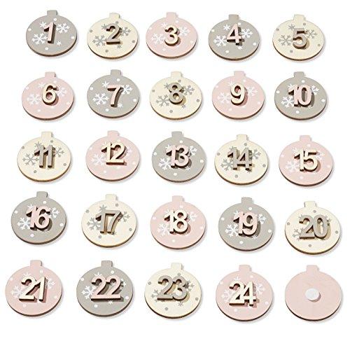 Adventszahlen Set 1-24 sort mit Klebepunkt natur-grau-rosenholz
