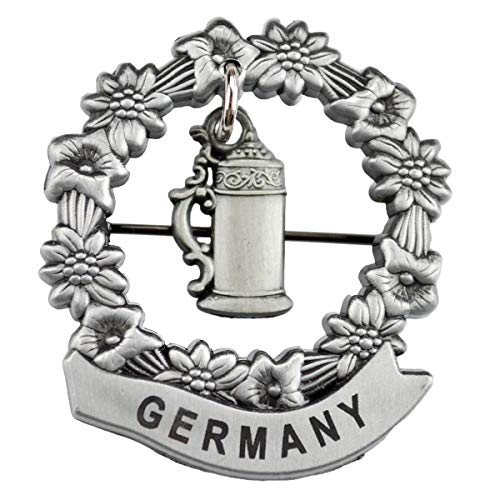 Oktoberfest German Hat Pin by E.H.G   Metal Medallion Beer Stein   Germany Banner