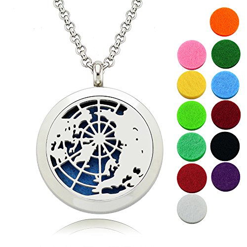 Essential Oil Diffuser Necklace/Lademayh Aromatherapy Element Pattern Locket/30mm Round Stainless Steel Pendant/24
