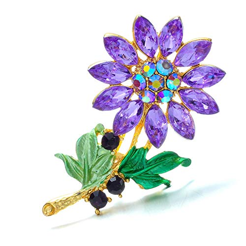 PT FASHIONS Crystal Sunflower Brooches for Women Coat Brooch Pin Fashion Jewelry (Sunflower Brooch Crystal)