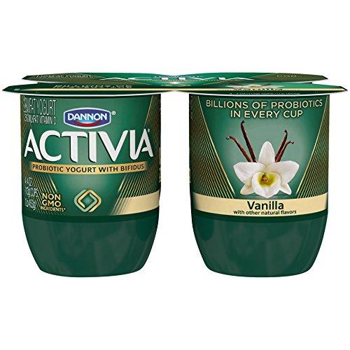 Dannon Activia Lowfat Yogurt, Vanilla, 4 Ounce (Pack of 4) Lowfat Probiotic Yogurt Snack
