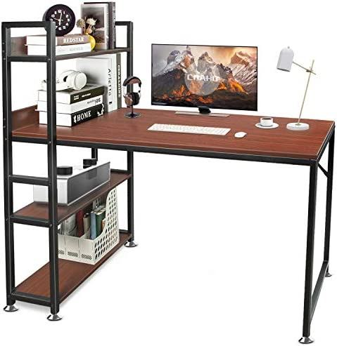 CHAHO Computer Desk with Shelves 47 Inch,Study Writing Table with Storage Bookshelf,Gaming Desk,Office Desk for Small Spaces, Home Office Desk with Bookshelf Easy Assemble(Dark Walnut)