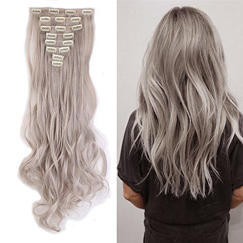 Light Grey Clip in Hair Extensions Synthetic Full Head Hairpieces Japanese Kanekalon Fiber Thick Long Wavy Curly Soft Silky 8pcs 18clips for Women Fashion and Beauty 24'' / 24 inch (Grey Hair Extensions)