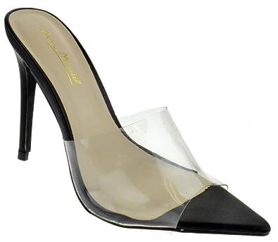 89e4ec6c747a7 Amazon.com | Anne Michelle Exception 01S Womens Classic Double Band  Stiletto Mule Heel Pointed Toe Pumps | Pumps