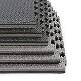 Clevr 1' Thick EVA Exericse Mat | Reversible and Interlocking Gym Foam Floor Mat Tiles (24' x 24') | Protective Flooring | Steel Pattern | 12 Pcs, 48 sqft | 1 Year Limited Warranty | Black Grey