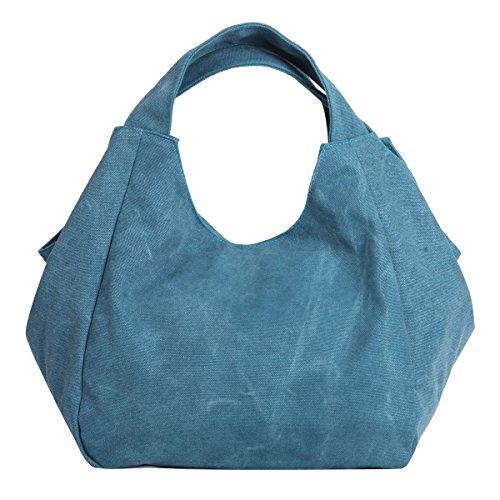 Crossbody Bags color Eshow Hobos Blue Handbag Totes Shoulder Women's And Canvas Multi Striped gvOBAg