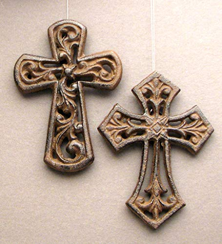 HomeCrafts4U Antique Cross Ornament Catholic Faith Symbol Decor Wall Mounted Hanging Fleur De Lis Accented Statue Vintage Decor Sculpture Memorial Bereavement Figure (Set of 4)